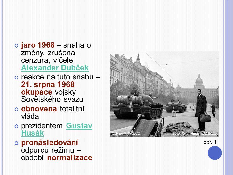 jaro 1968 – snaha o změny, zrušena cenzura, v čele Alexander Dubček