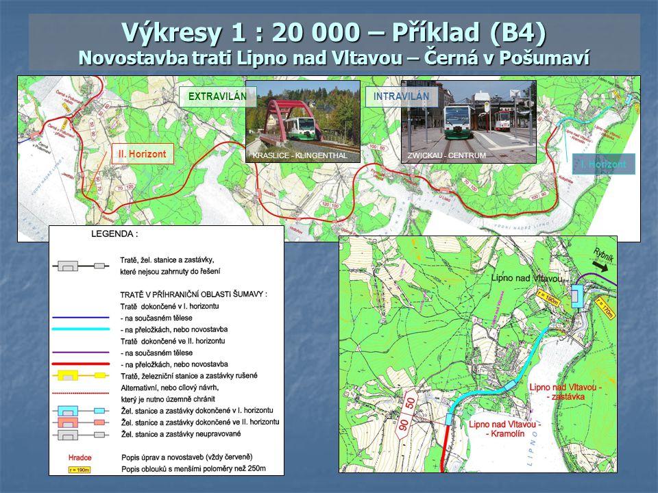 Výkresy 1 : 20 000 – Příklad (B4) Novostavba trati Lipno nad Vltavou – Černá v Pošumaví