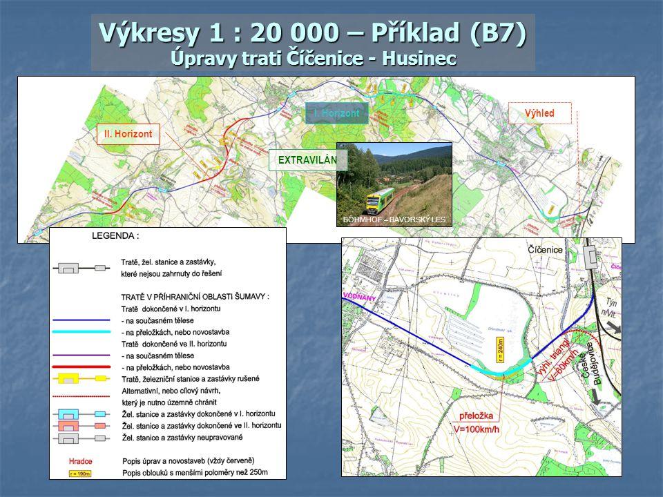 Výkresy 1 : 20 000 – Příklad (B7) Úpravy trati Číčenice - Husinec
