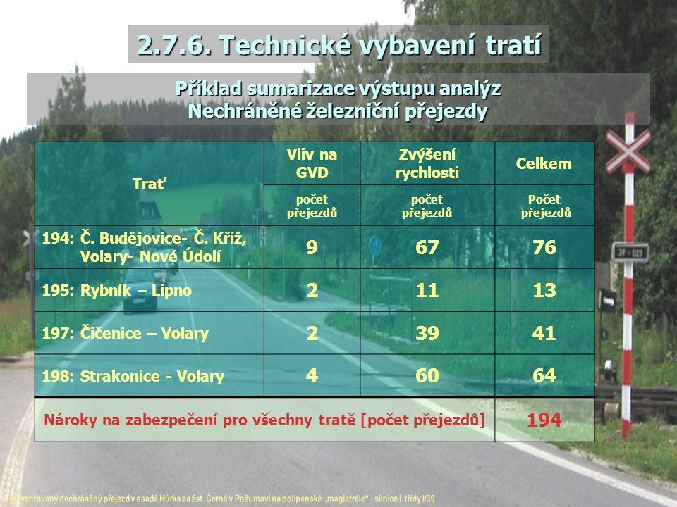 2.7.6. Technické vybavení tratí