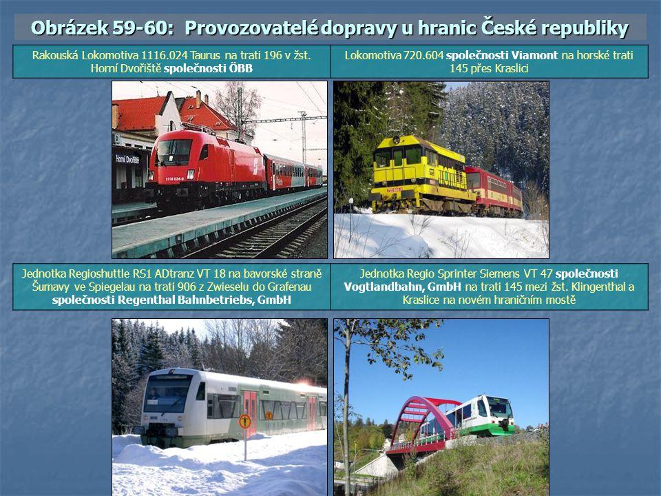 Obrázek 59-60: Provozovatelé dopravy u hranic České republiky