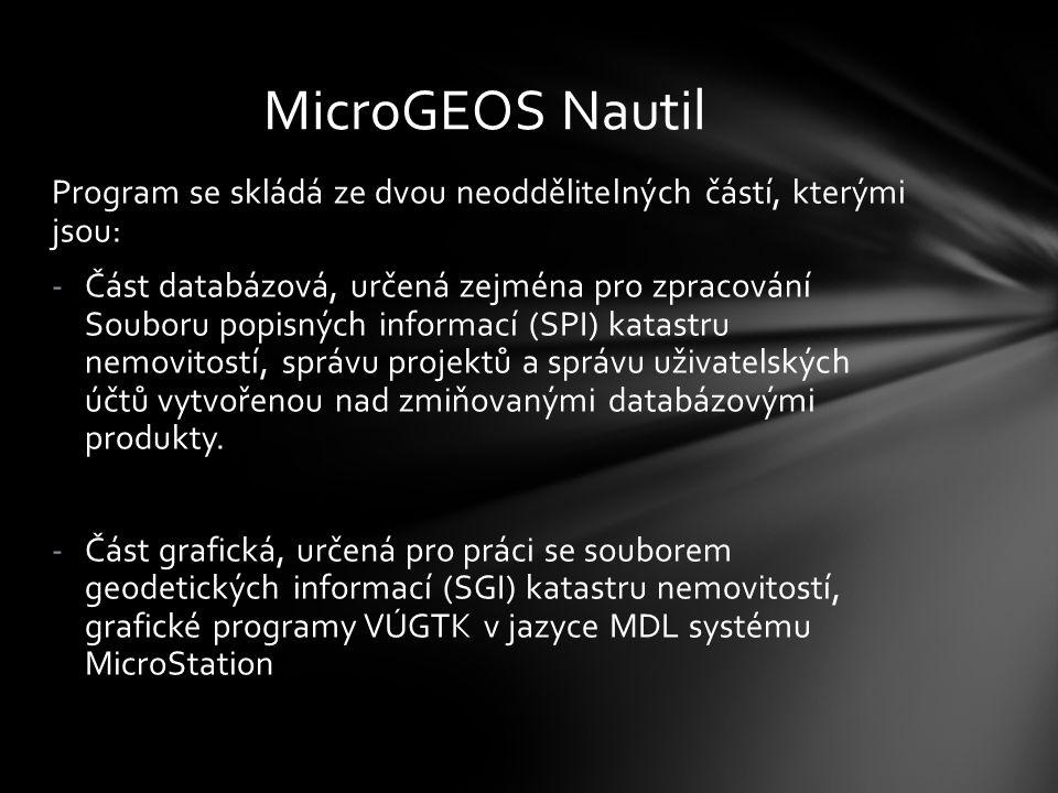 MicroGEOS Nautil Program se skládá ze dvou neoddělitelných částí, kterými jsou: