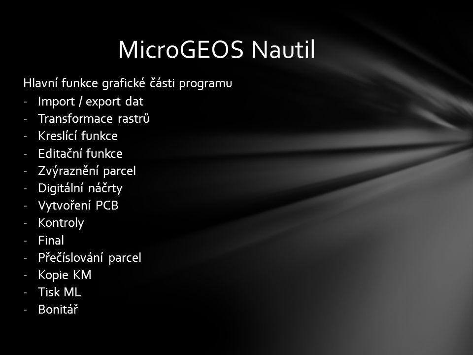 MicroGEOS Nautil Hlavní funkce grafické části programu