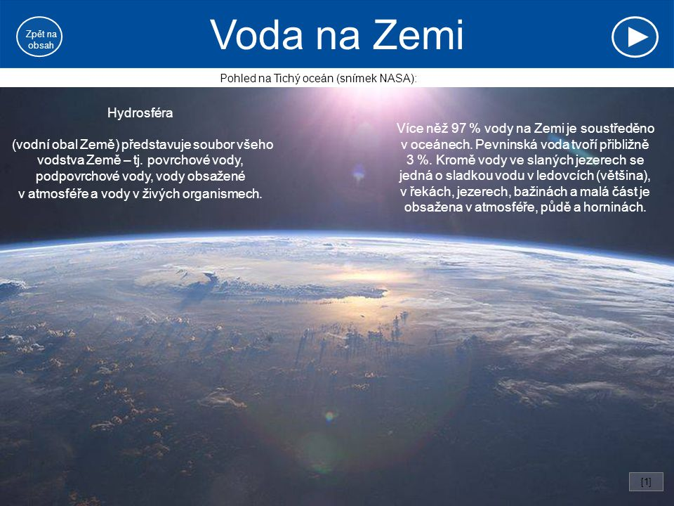 Voda na Zemi Hydrosféra