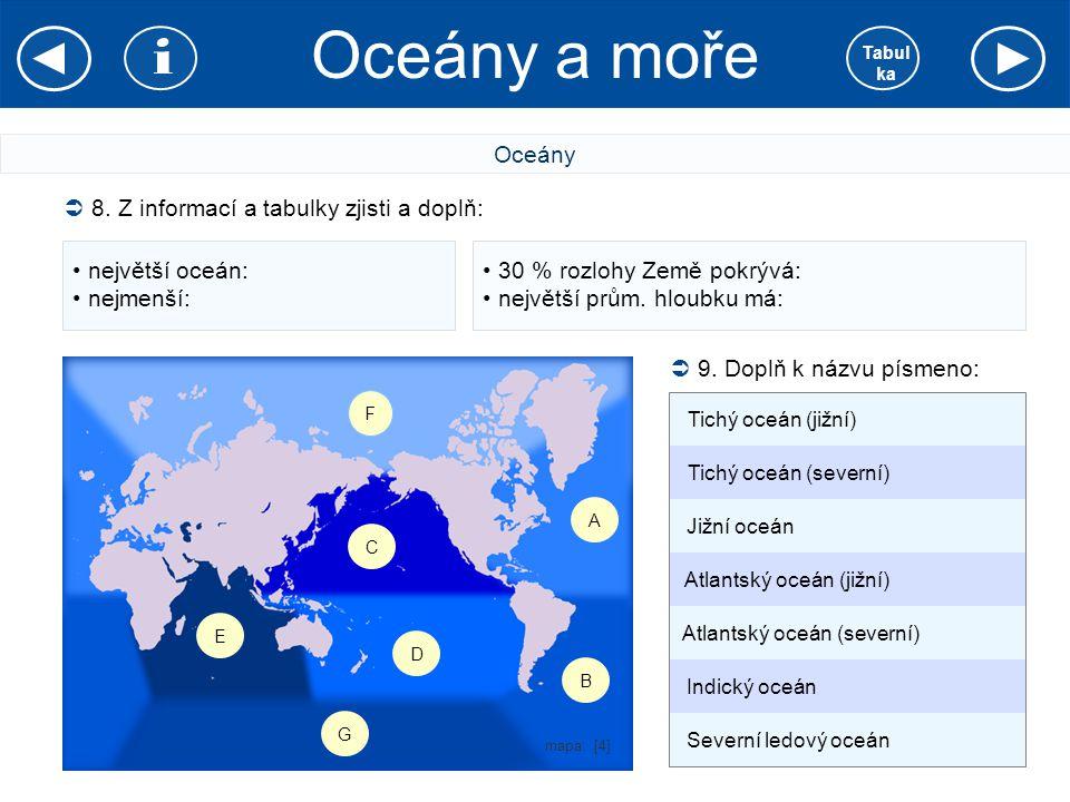 Oceány a moře i Oceány 8. Z informací a tabulky zjisti a doplň: