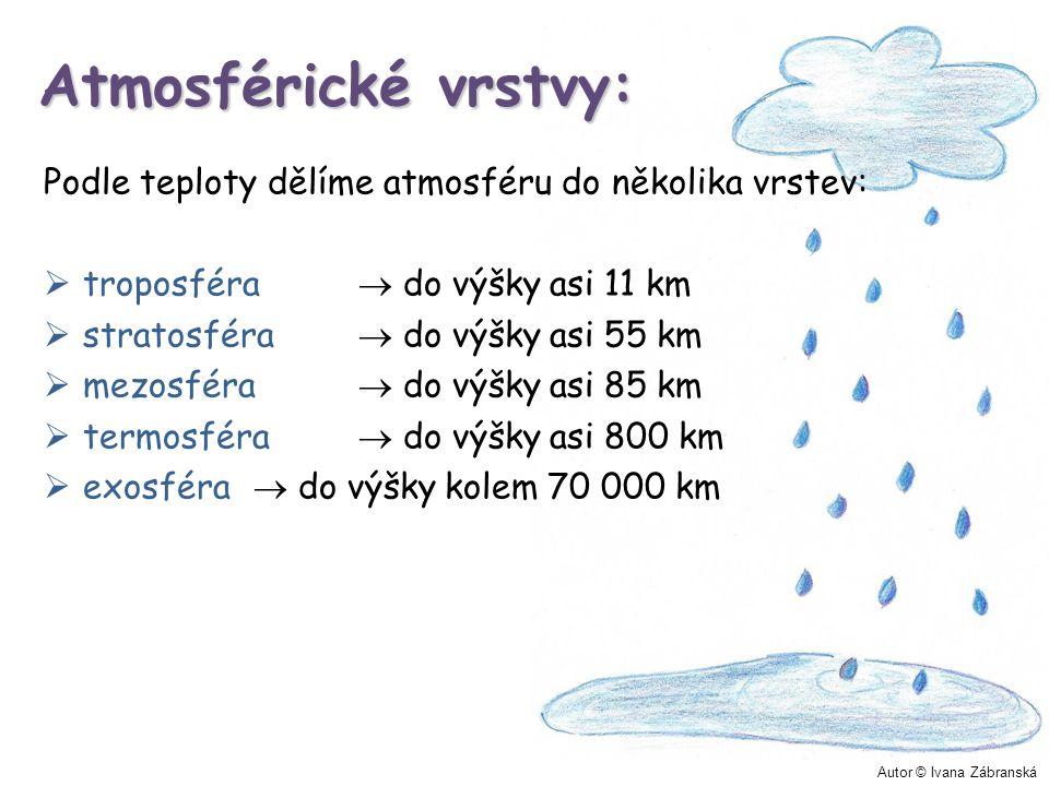 Atmosférické vrstvy: Podle teploty dělíme atmosféru do několika vrstev: troposféra  do výšky asi 11 km.