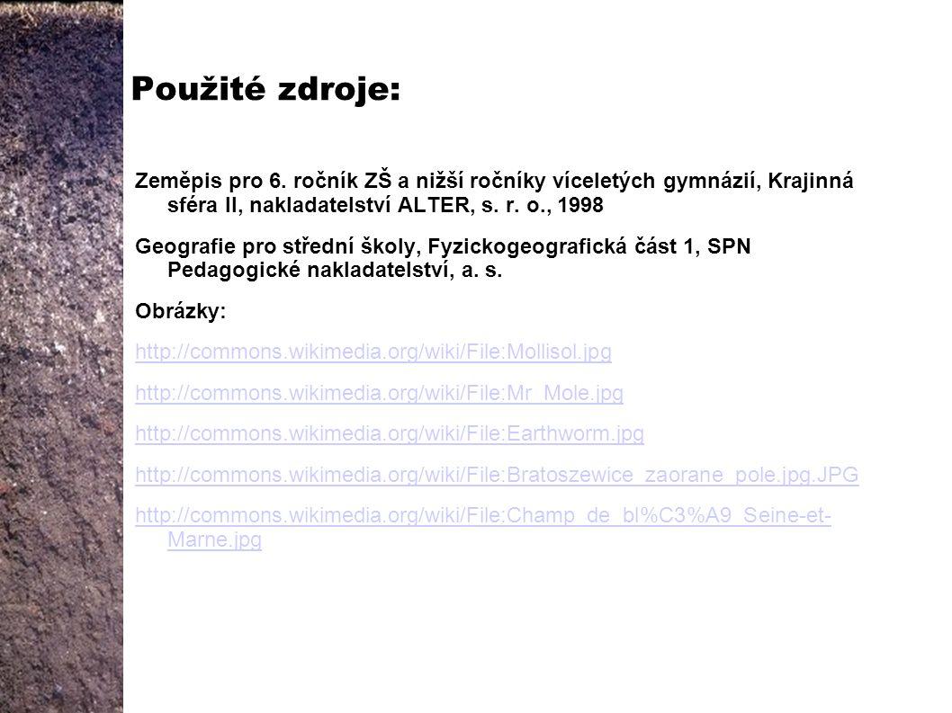 Použité zdroje: Zeměpis pro 6. ročník ZŠ a nižší ročníky víceletých gymnázií, Krajinná sféra II, nakladatelství ALTER, s. r. o., 1998.