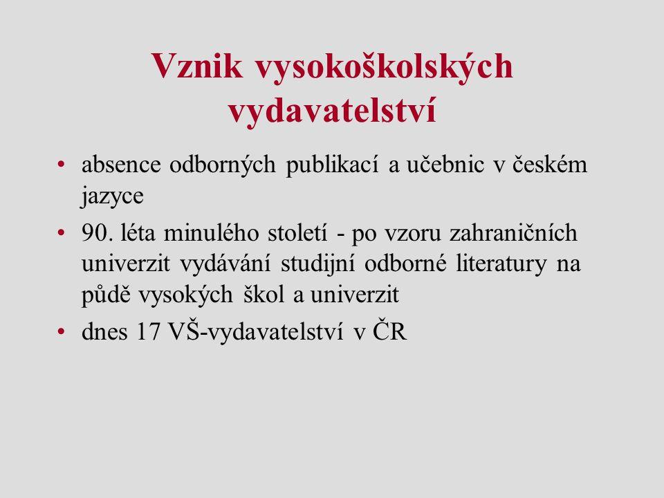Vznik vysokoškolských vydavatelství