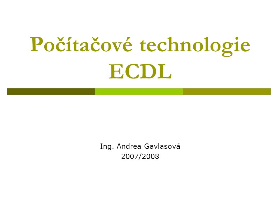 Počítačové technologie ECDL