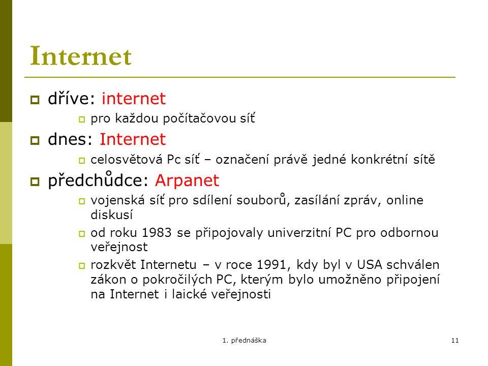 Internet dříve: internet dnes: Internet předchůdce: Arpanet