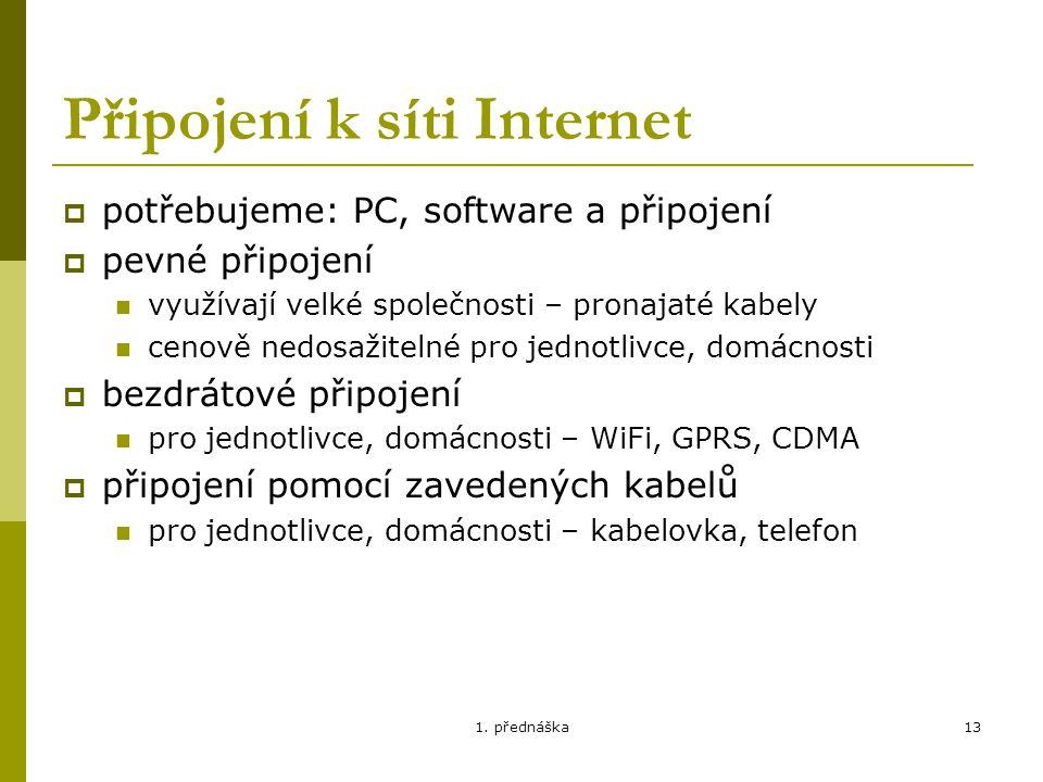 Připojení k síti Internet
