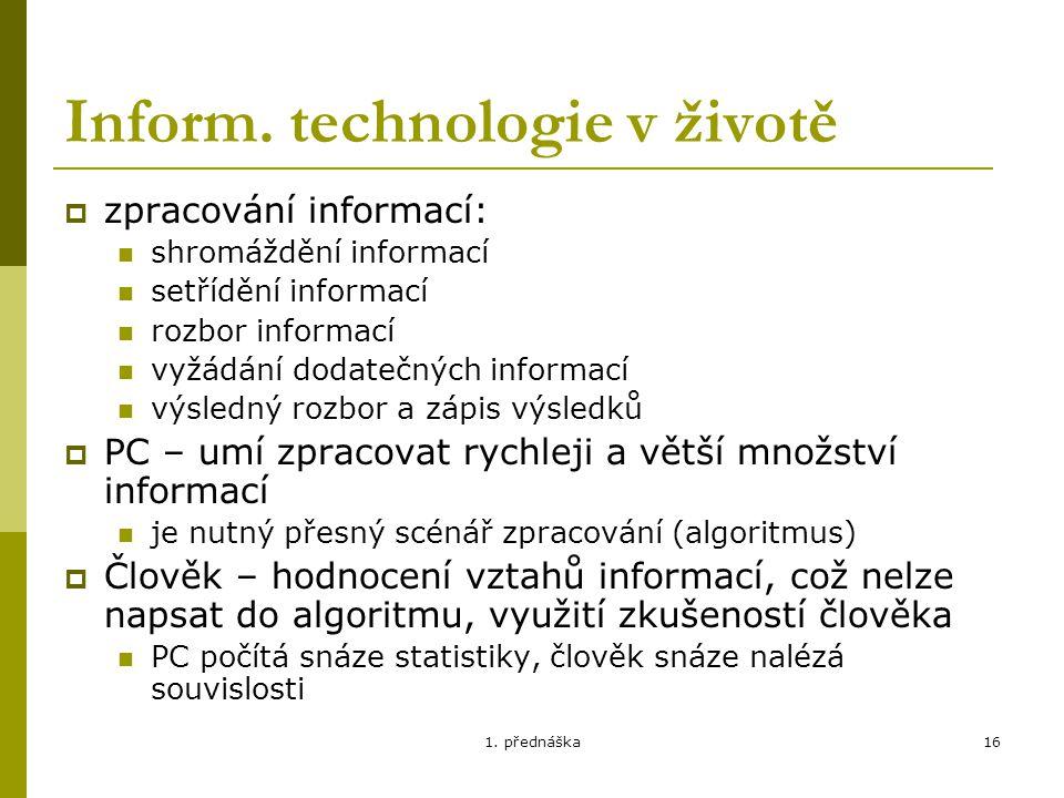 Inform. technologie v životě