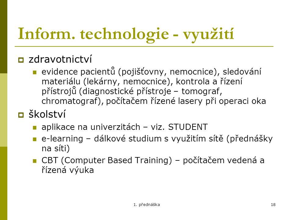 Inform. technologie - využití