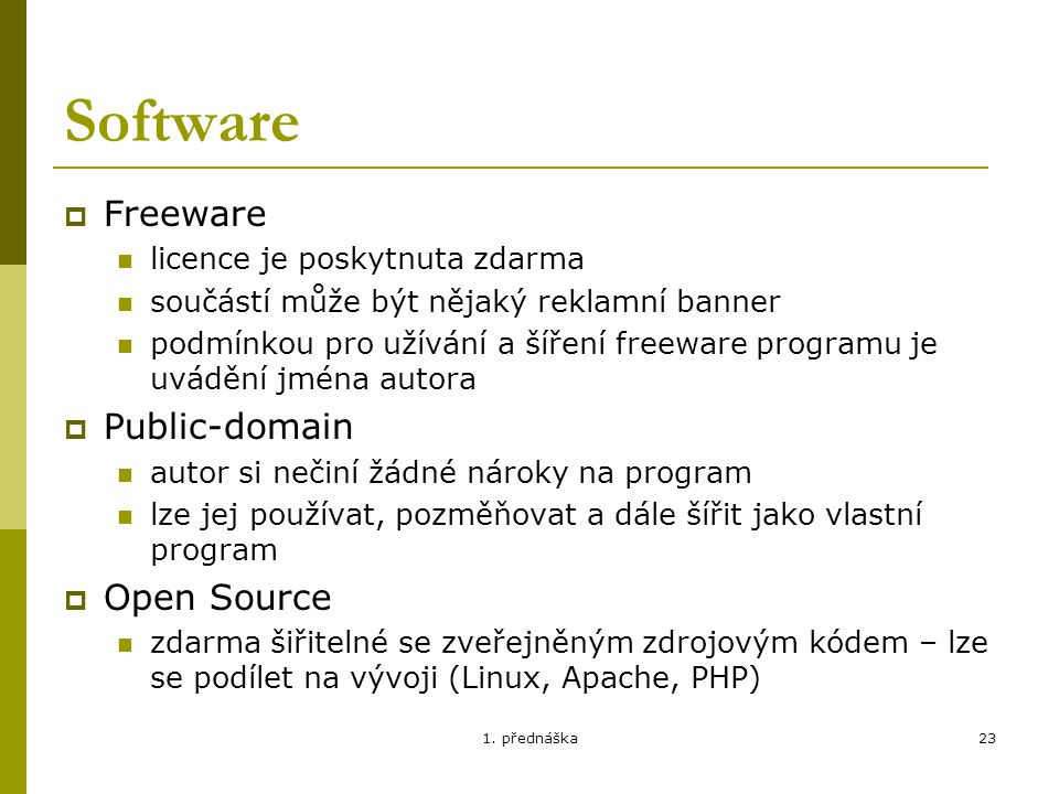 Software Freeware Public-domain Open Source