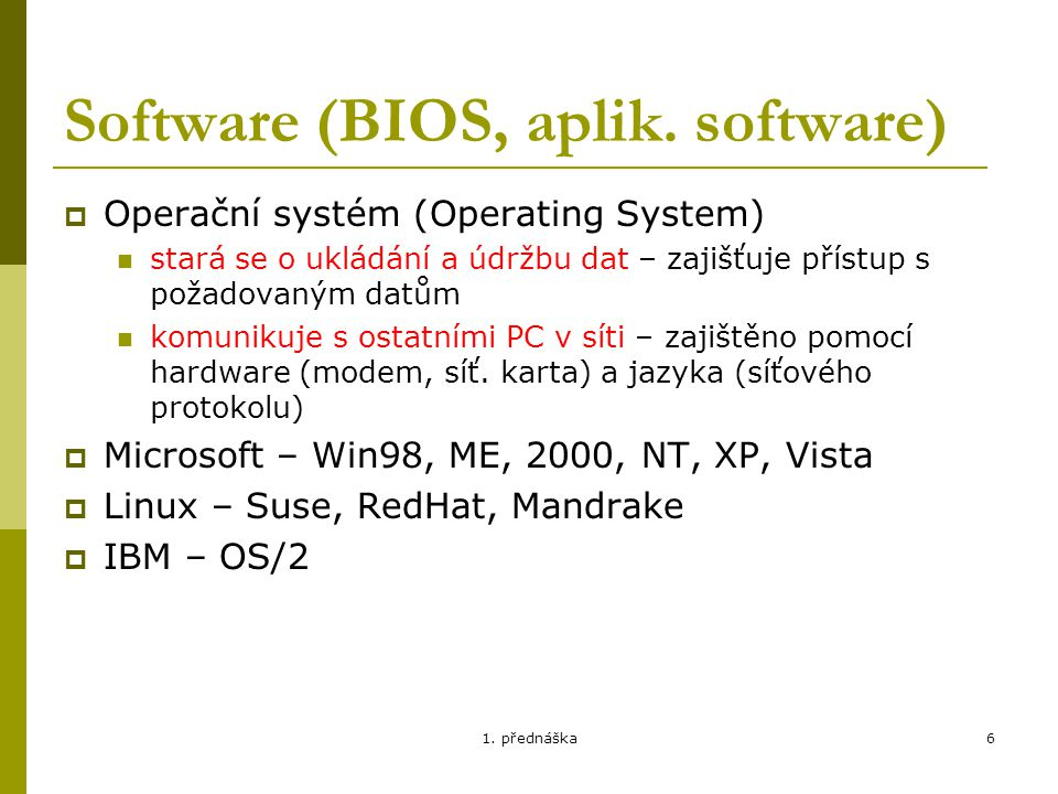 Software (BIOS, aplik. software)