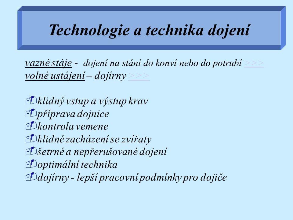 Technologie a technika dojení