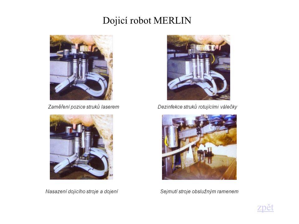 Dojicí robot MERLIN zpět Zaměření pozice struků laserem