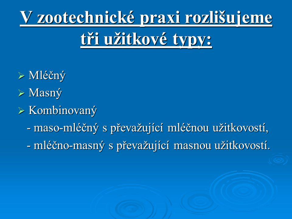 V zootechnické praxi rozlišujeme tři užitkové typy: