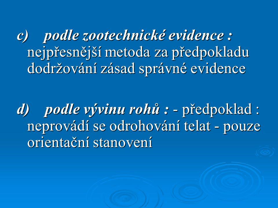 c) podle zootechnické evidence : nejpřesnější metoda za předpokladu dodržování zásad správné evidence