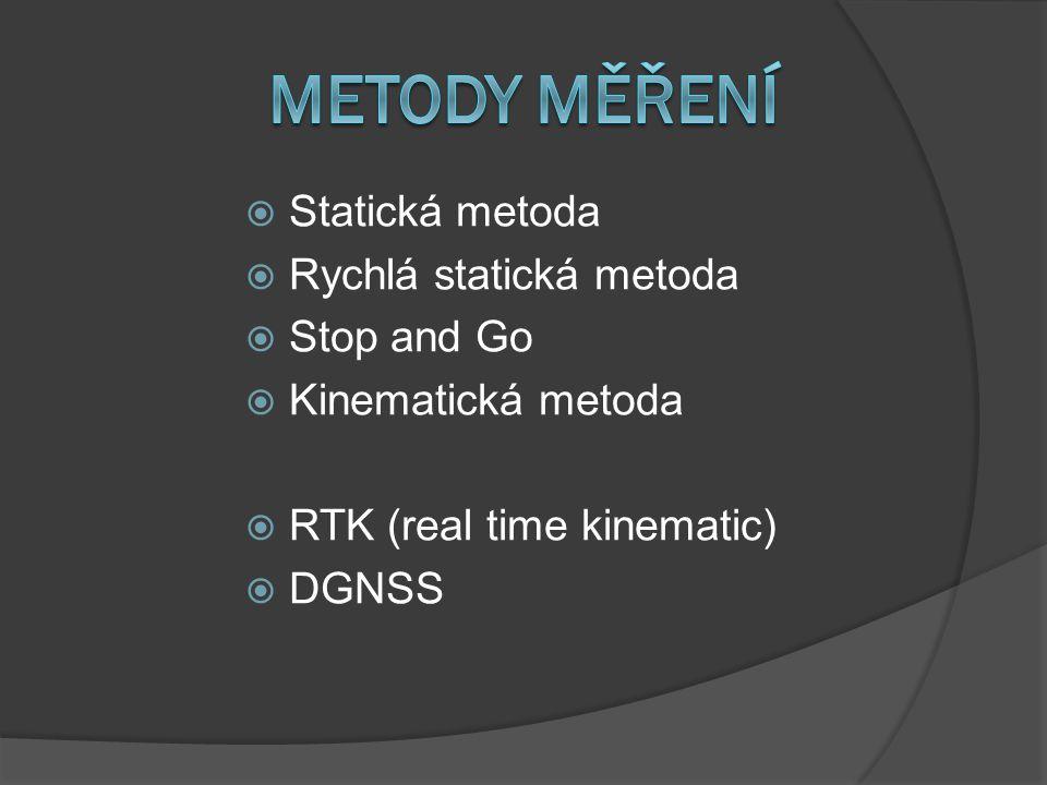 METODY MĚŘENÍ Statická metoda Rychlá statická metoda Stop and Go