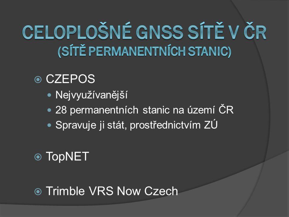 Celoplošné GNSS SÍTĚ V ČR (Sítě permanentních stanic)
