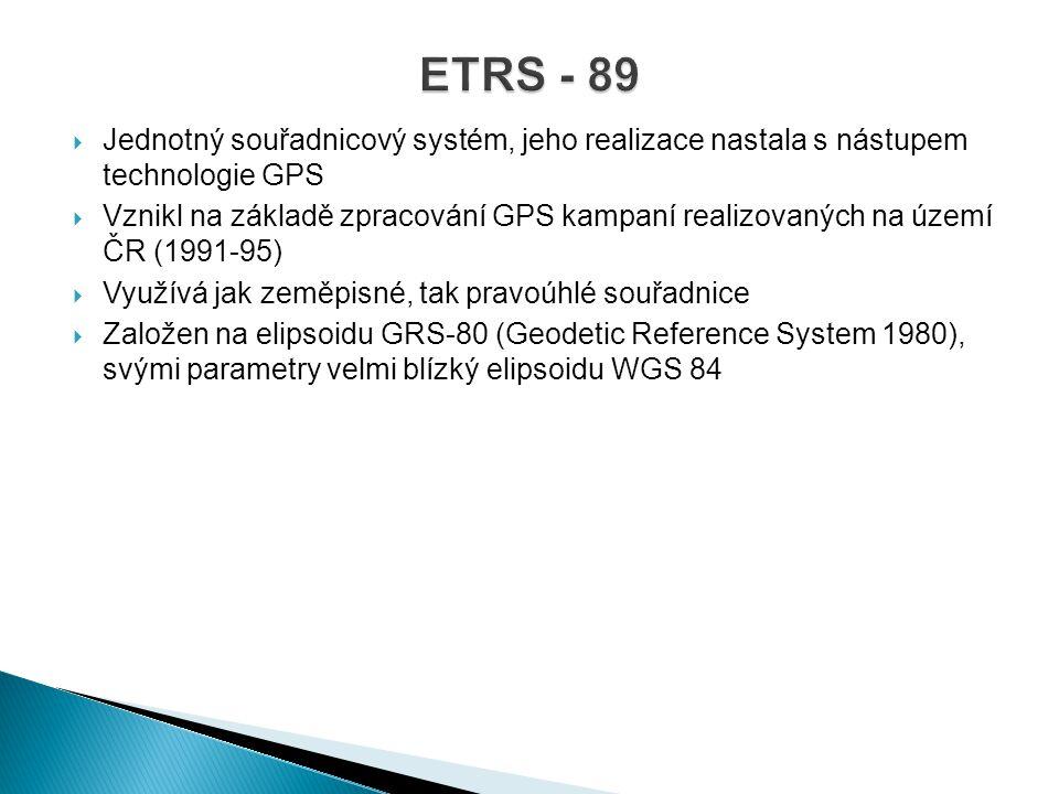 ETRS - 89 Jednotný souřadnicový systém, jeho realizace nastala s nástupem technologie GPS.