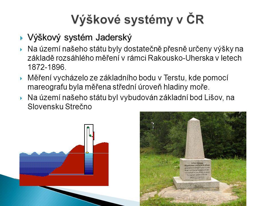 Výškové systémy v ČR Výškový systém Jaderský