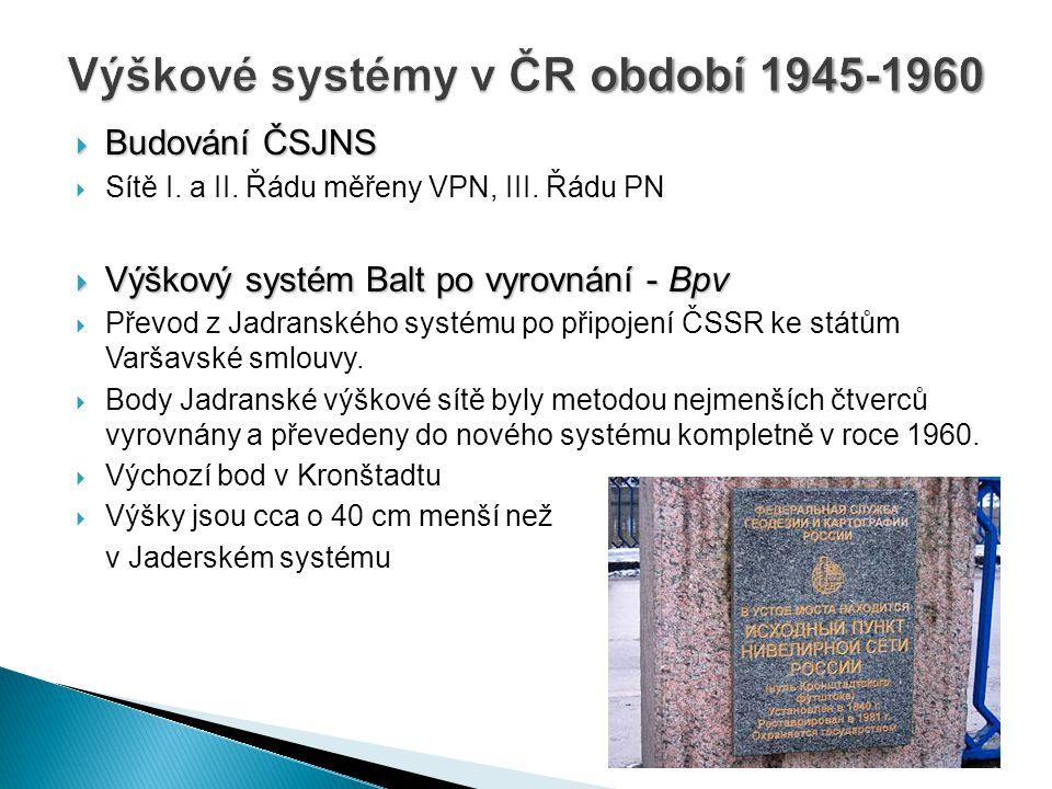 Výškové systémy v ČR období 1945-1960