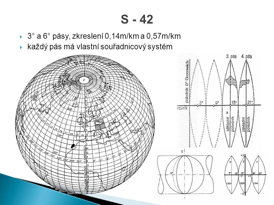 S - 42 3° a 6° pásy, zkreslení 0,14m/km a 0,57m/km