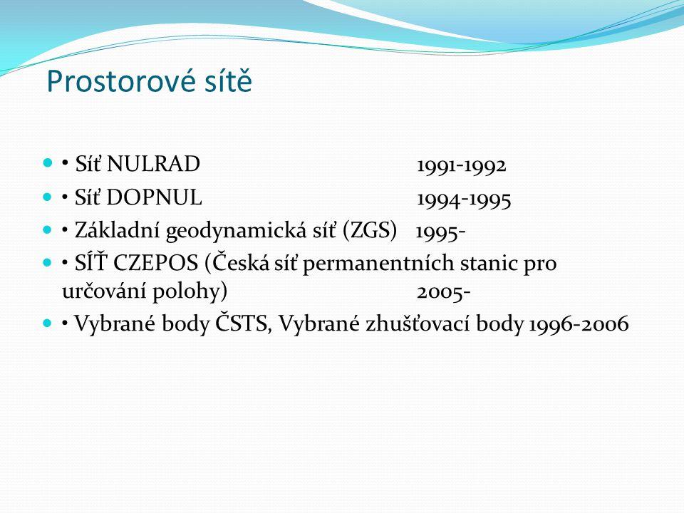 Prostorové sítě • Síť NULRAD 1991-1992 • Síť DOPNUL 1994-1995