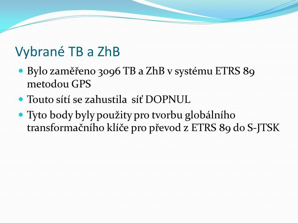 Vybrané TB a ZhB Bylo zaměřeno 3096 TB a ZhB v systému ETRS 89 metodou GPS. Touto sítí se zahustila síť DOPNUL.