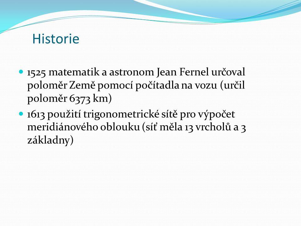 Historie 1525 matematik a astronom Jean Fernel určoval poloměr Země pomocí počítadla na vozu (určil poloměr 6373 km)