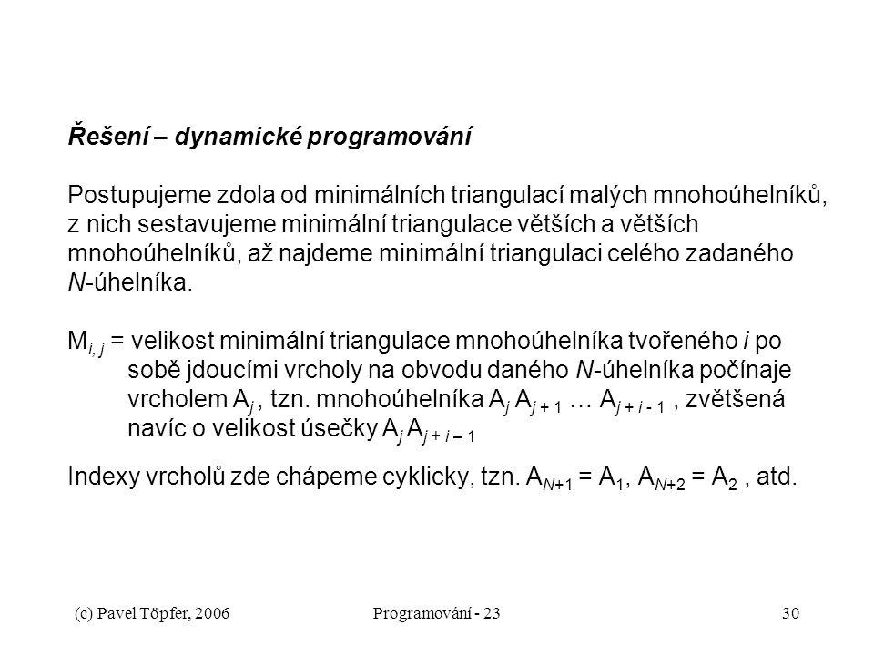 Řešení – dynamické programování Postupujeme zdola od minimálních triangulací malých mnohoúhelníků, z nich sestavujeme minimální triangulace větších a větších mnohoúhelníků, až najdeme minimální triangulaci celého zadaného N-úhelníka. Mi, j = velikost minimální triangulace mnohoúhelníka tvořeného i po sobě jdoucími vrcholy na obvodu daného N-úhelníka počínaje vrcholem Aj , tzn. mnohoúhelníka Aj Aj + 1 … Aj + i - 1 , zvětšená navíc o velikost úsečky Aj Aj + i – 1 Indexy vrcholů zde chápeme cyklicky, tzn. AN+1 = A1, AN+2 = A2 , atd.