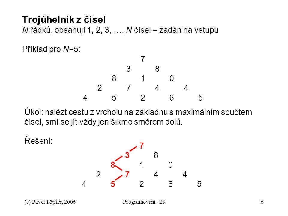 Trojúhelník z čísel N řádků, obsahují 1, 2, 3, …, N čísel – zadán na vstupu Příklad pro N=5: