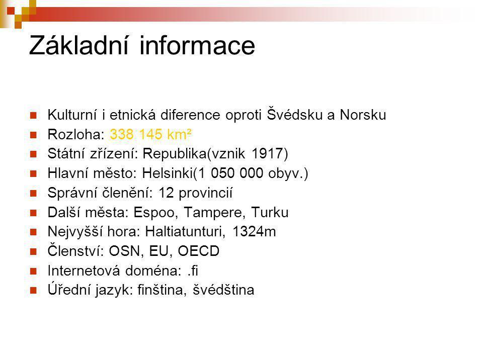 Základní informace Kulturní i etnická diference oproti Švédsku a Norsku. Rozloha: 338 145 km². Státní zřízení: Republika(vznik 1917)