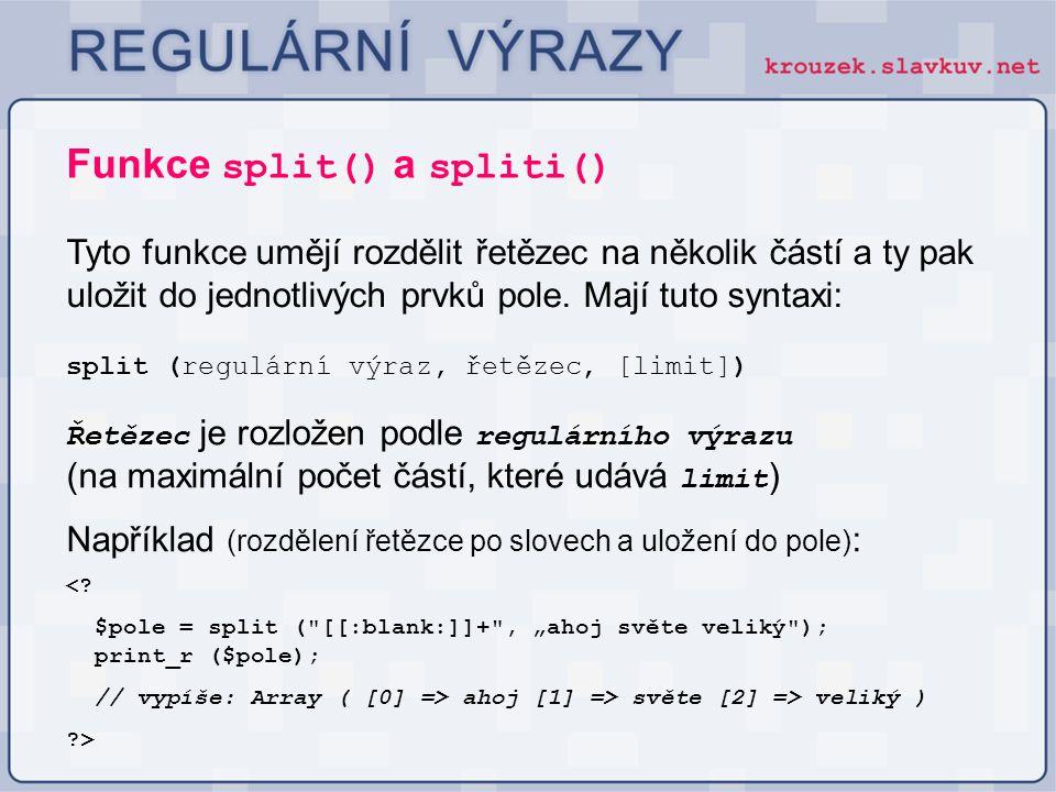 Funkce split() a spliti()