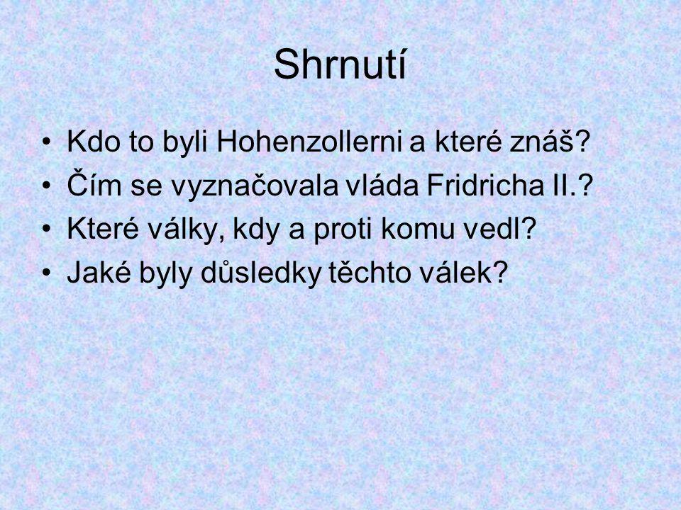 Shrnutí Kdo to byli Hohenzollerni a které znáš