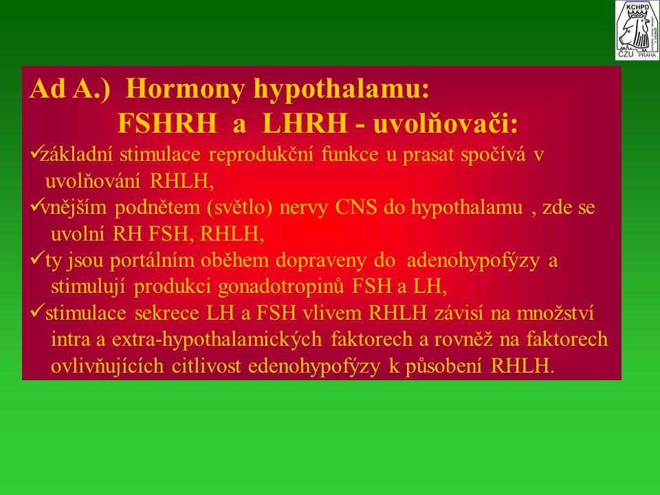 Ad A.) Hormony hypothalamu: FSHRH a LHRH - uvolňovači: