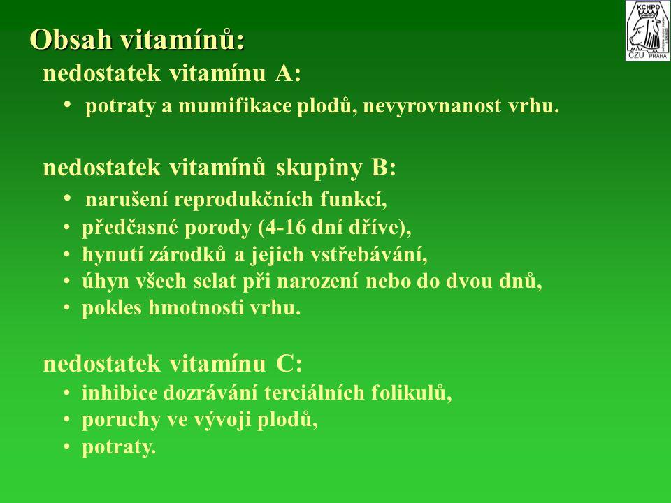 Obsah vitamínů: nedostatek vitamínu A:
