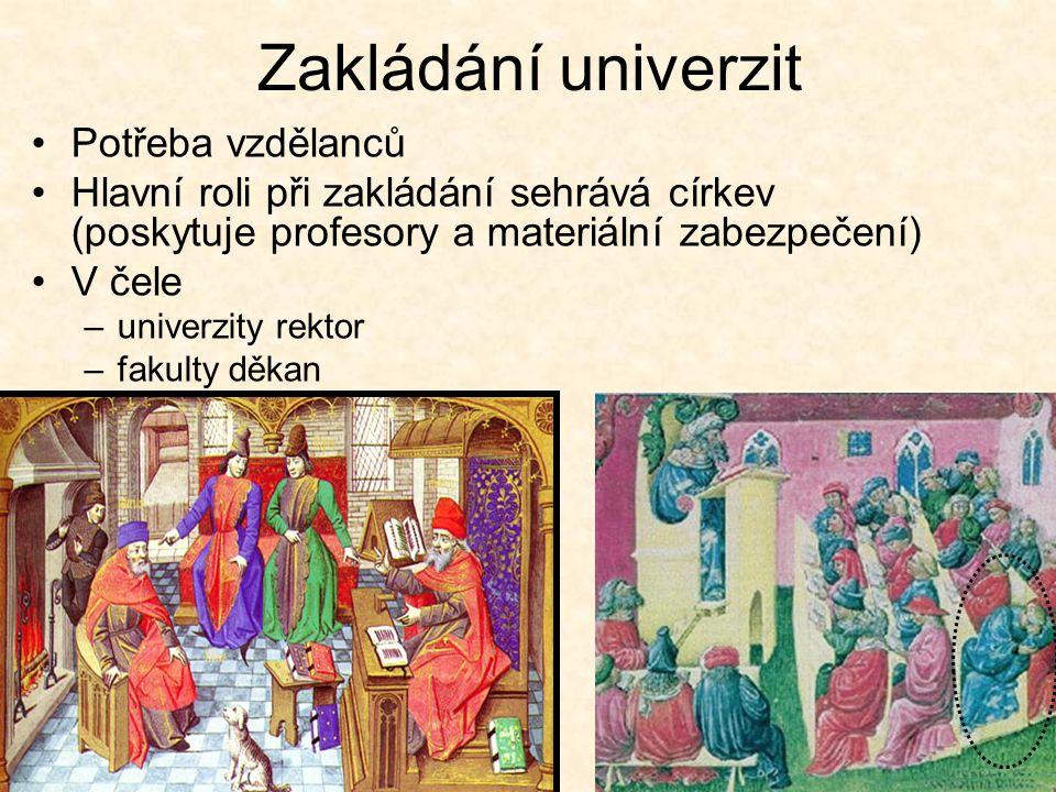 Zakládání univerzit Potřeba vzdělanců