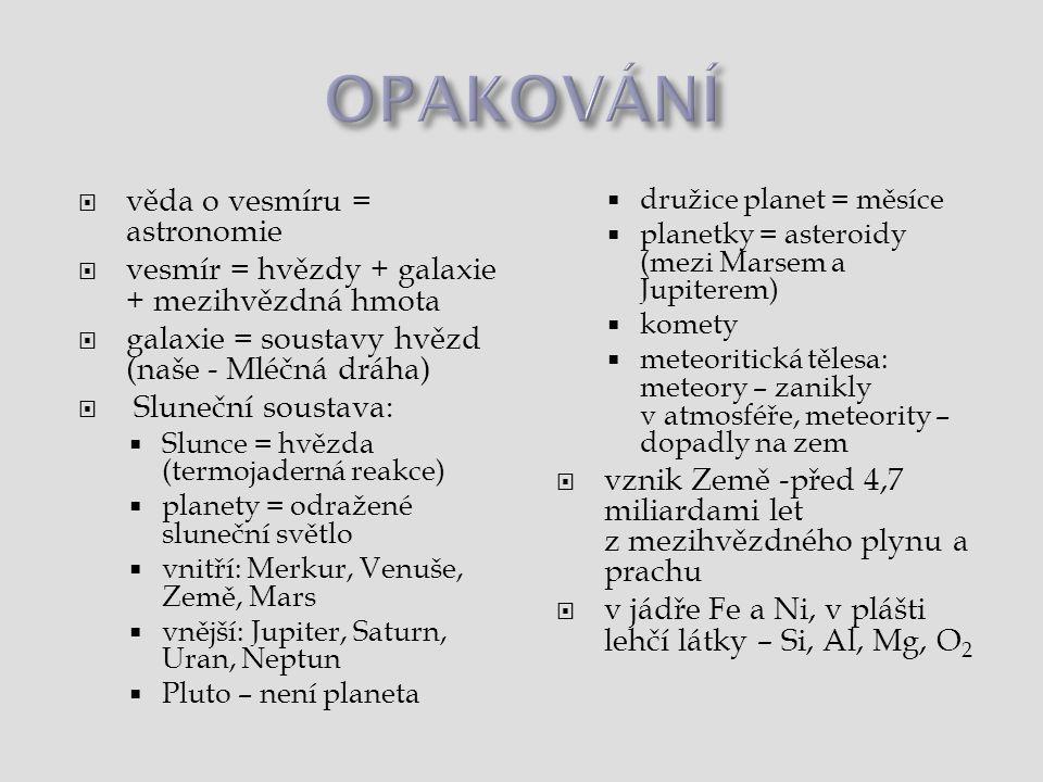 OPAKOVÁNÍ věda o vesmíru = astronomie