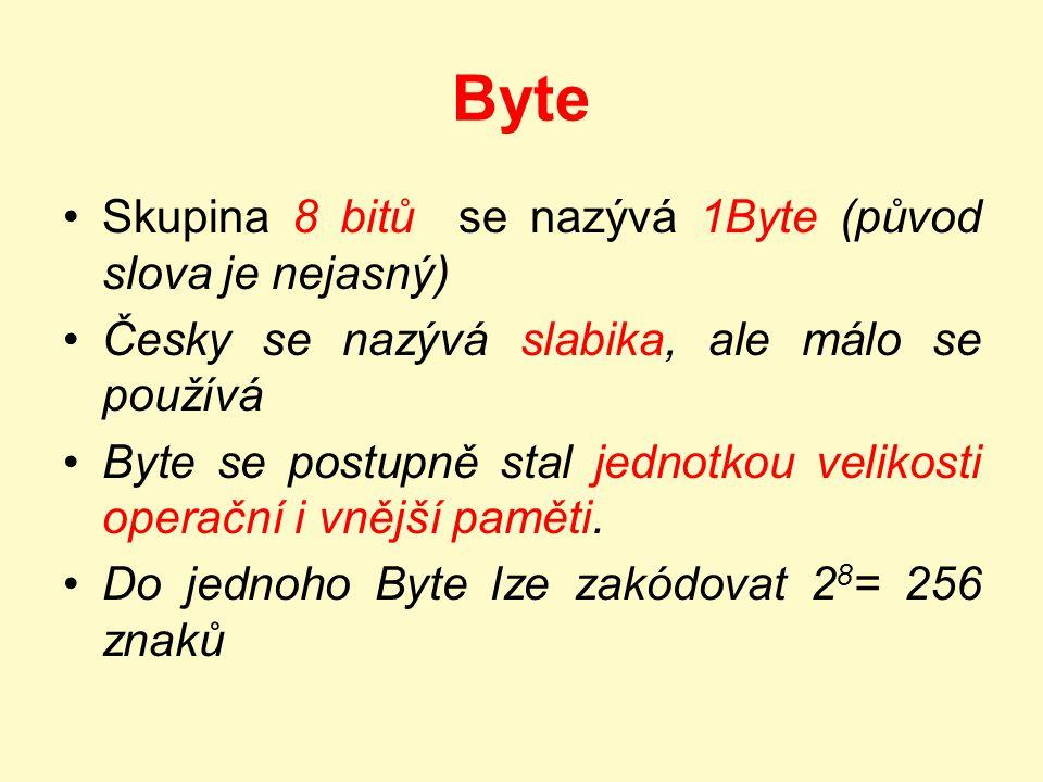 Byte Skupina 8 bitů se nazývá 1Byte (původ slova je nejasný)