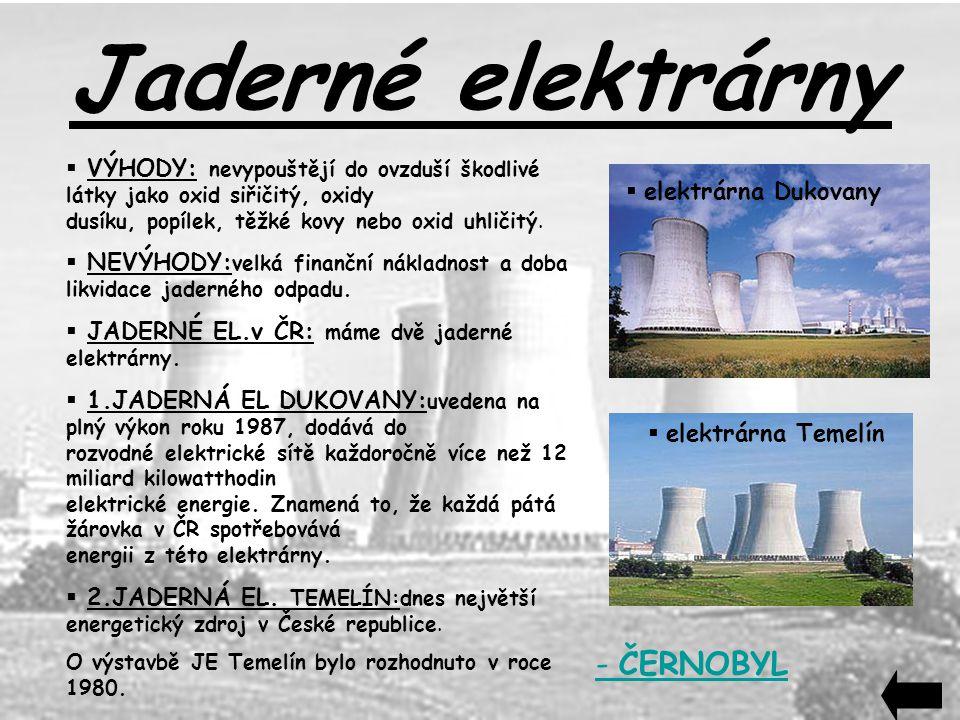 Jaderné elektrárny - ČERNOBYL