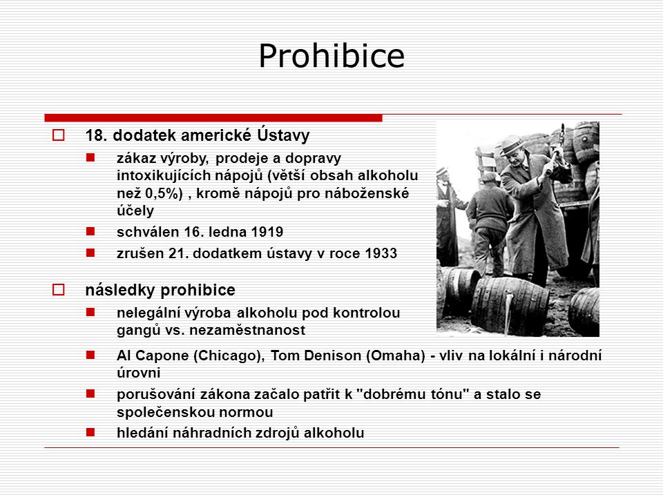 Prohibice 18. dodatek americké Ústavy následky prohibice