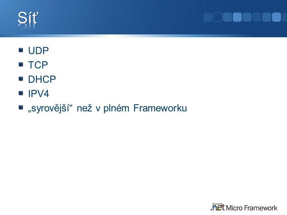 """Síť UDP TCP DHCP IPV4 """"syrovější než v plném Frameworku"""
