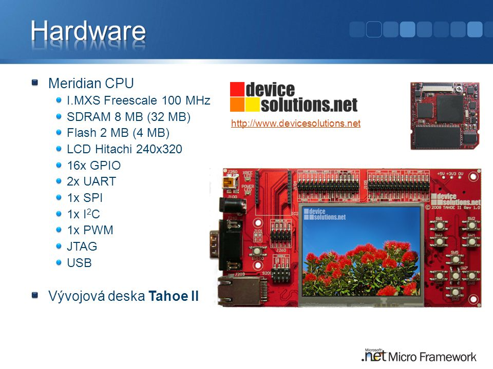 Hardware Meridian CPU Vývojová deska Tahoe II I.MXS Freescale 100 MHz