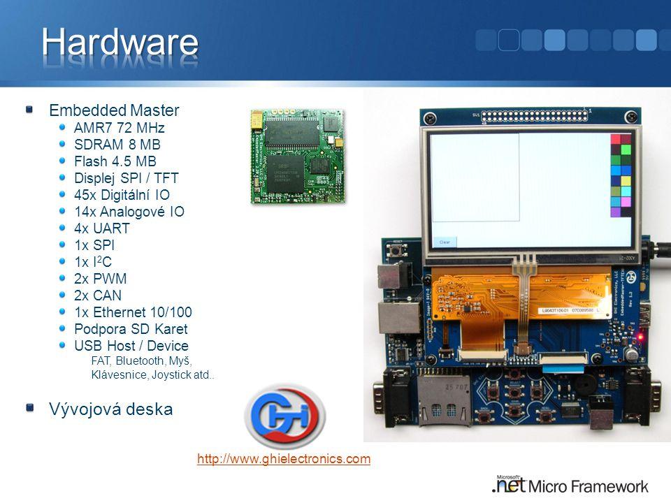 Hardware Vývojová deska Embedded Master AMR7 72 MHz SDRAM 8 MB