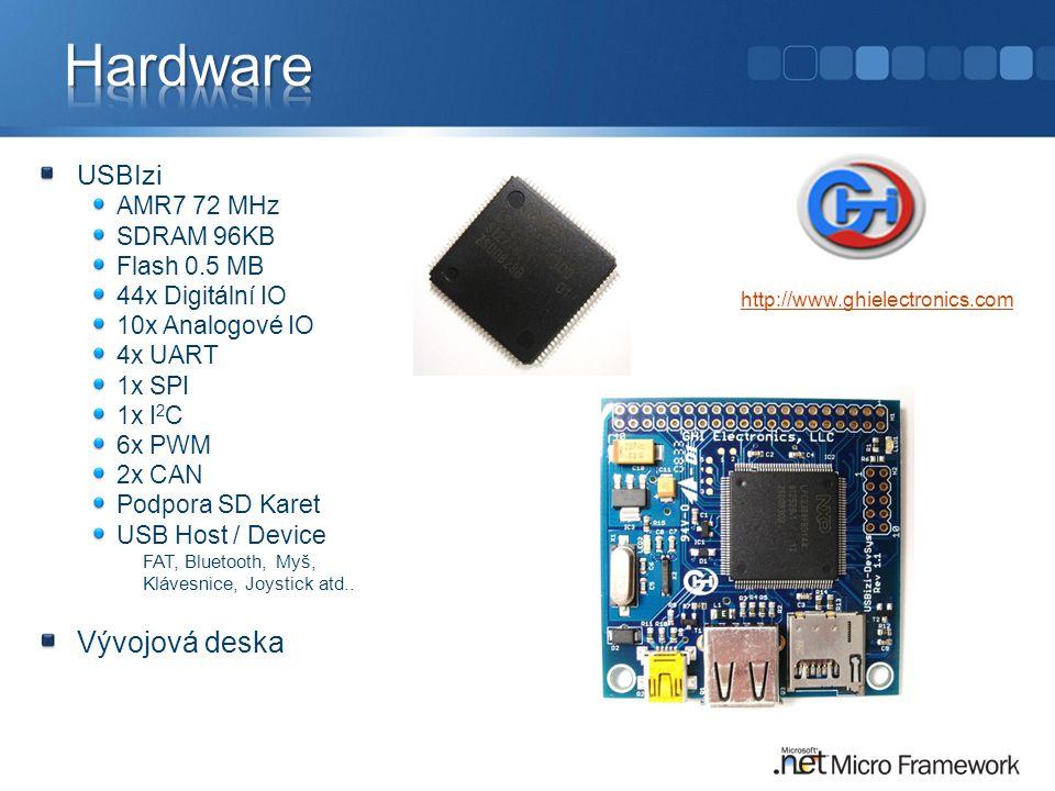Hardware Vývojová deska USBIzi AMR7 72 MHz SDRAM 96KB Flash 0.5 MB