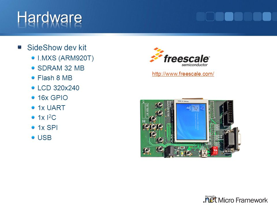 Hardware SideShow dev kit I.MXS (ARM920T) SDRAM 32 MB Flash 8 MB