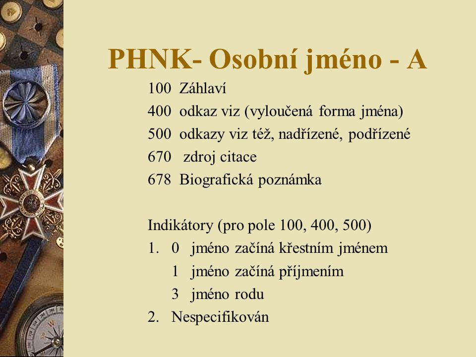 PHNK- Osobní jméno - A Záhlaví 400 odkaz viz (vyloučená forma jména)